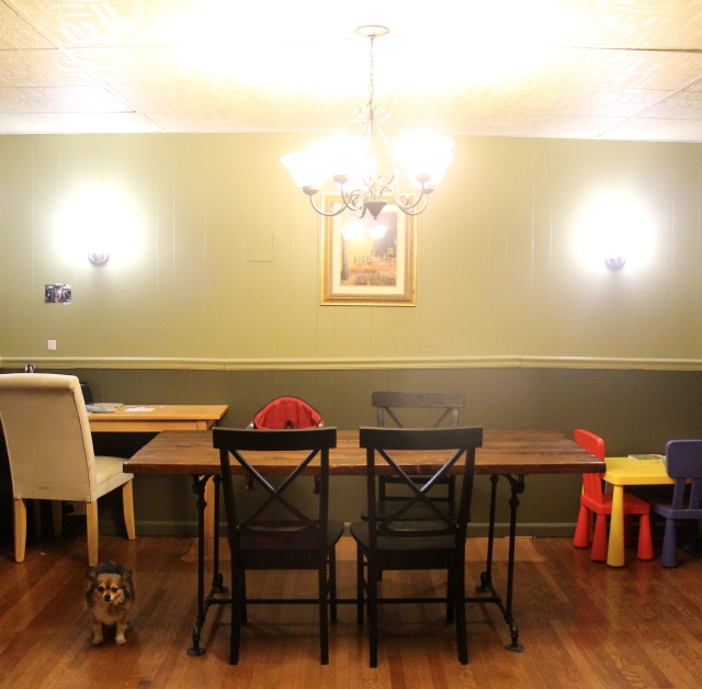 dining room after, with added light fixture
