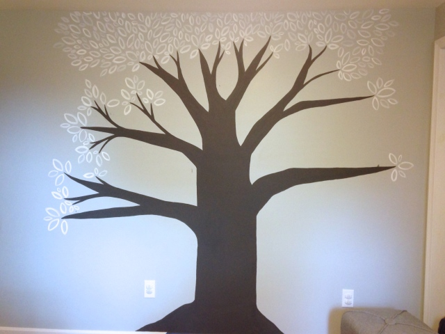 Painting a Chalkboard Tree Step 7: Add more leaves