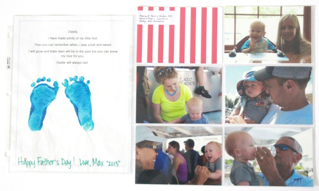 Inserts of our family vacation, a footprint for Father's Day from daycare