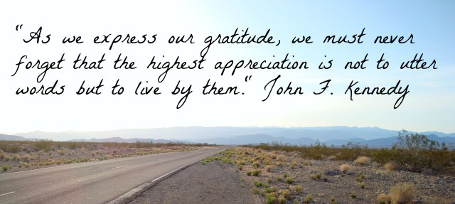 """""""As we express our gratitude, we must never forget that the highest appreciation is not to utter words but to live by them."""" John F. Kennedy"""