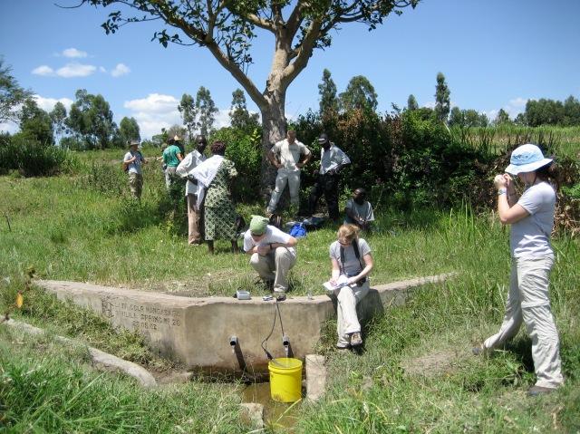 collecting data on a local spring in namawanga, kenya